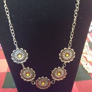 Silver and yellow Necklace